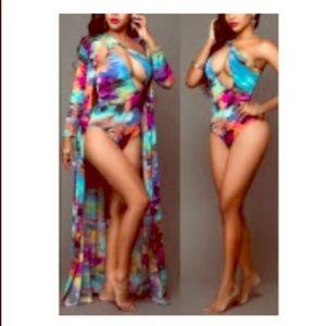 2-Pc Tropical Beach Set.  Cover-up & suit